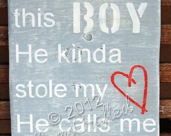 "There's This Boy (Extra-Large 18""x26""), Weathered Wood Wall Art"