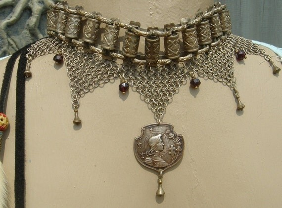 SALE //  Jeanne        Antique French Joan of Arc Regalia Chain Handmade Assemblage Necklace