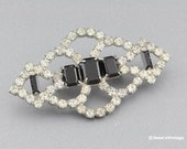 Vintage Brooch Pin Clear & Black Rhinestones Art Deco Style