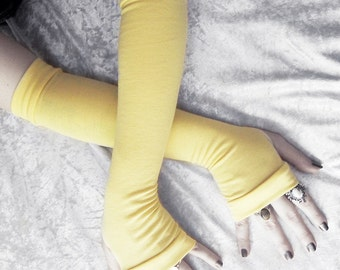 Buttercup Arm Warmers | Sunshine Yellow Maize Bamboo Cotton | Gothic Yoga Belly Dance Dark Tribal Running Cycling Boho Goth Chic Soft Light
