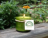 Soy candle- recycled wine bottle container