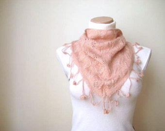 Blush Pink Scarf, Neckwarmer, Foulard - Warm Soft Triangle Powder, Light Pink - Gift for Her - Ready to Ship