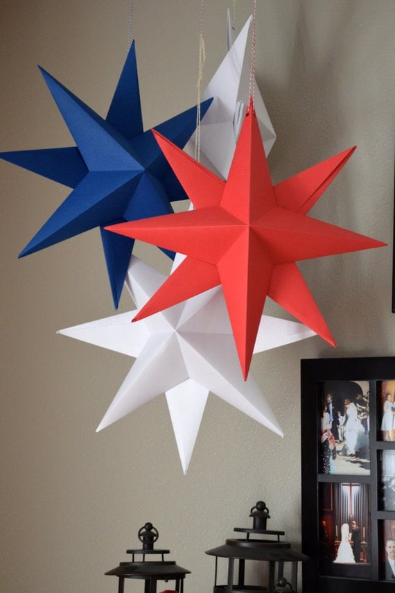 hanging paper star large folded origami decoration in red
