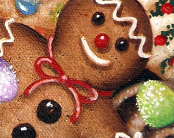 "ACEO 2 1/2"" X 3 1/2"" Original Acrylic Painting                                   Gingerbread Man Christmas Cookies"