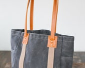 No. 115 Carry Tote in Slate Waxed Canvas & Saddle Horween Leather