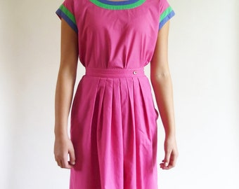 80s dress set - pink color block skirt and top - xs xxsmall