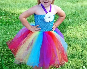 Rainbow Tutu Dress With Removable Daisy Clip - Size 2T to Girl's Size 6 - Can Be Worn Different Ways