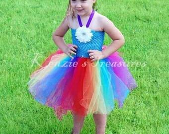 Rainbow Crochet Tutu Halter Dress - Size NB to 24 Months - Can Be Worn Different Ways