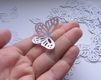 Paper butterflies 50 die cut butterflies, die cuts, wedding decorations, scrapbooking, weddings, white butterflies