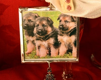 Dog Ornament, Christmas, Woofy Holidays, Puppies, Silver, Silver Solder, Holidays, Dog Lover, Canine, German Shepherd, FREE US Shipping