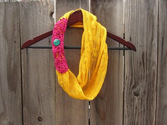 Bright Yellow Infinity Scarf, Crochet Scarf, Upcycled Recycled Repurposed Clothing, Yellow Scarf, Loop Scarf, Boho Clothing, Boho Scarf