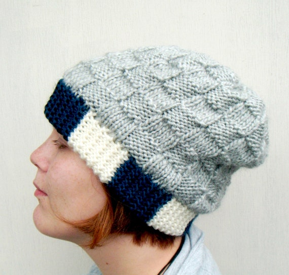 Knit Slouchy Beanie, Block and Check, Hand Knitted Hat  - Light Gray, Dark Denim Blue, Ecru White