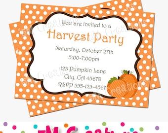 PUMPKIN Birthday Party Printable Invitation - HARVEST Party Invitation - Orange Polka Dot Invitation