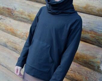 Creature of Habit Mens Cowl Neck Top shirt long sleeve hood pocket-Hemp and Organic Cotton by Hempress Arise