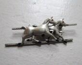 Vintage Horse Brooch / Sterling Silver Horse Brooch Signed Uncas c.1930s