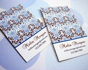 Personalized Blue Ornamental Business Card Calling Card - Set of 50
