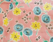 Vintage Sheer Cotton FABRIC 1940's - Shabby Chic Pink- Robins Egg  Blue Yellow -  Bright Cottage Fabric