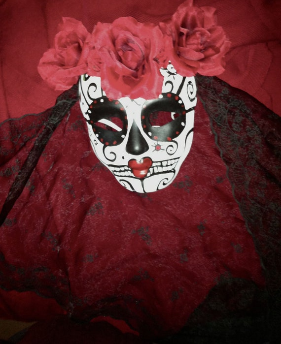 Mask, Sugar Skull, HAlloween, Day of the Dead-Reserved for Tess