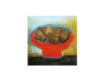 "ORIGINAL Oil Painting on canvas, fine art painting 12""x12, Red Bowl,Katya Trischuk art,kitchen painting, Christmas gifts for sister mother"