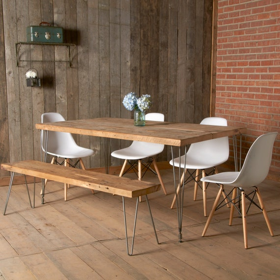 Modern dining table with reclaimed wood top and hairpin legs like this item watchthetrailerfo