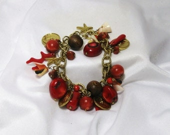 Carnelian Agate Sea Shell Vintage Crimson Charm Bracelet, Faux Coral, Gold Coins, Starfish Charms