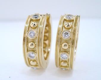 18K Yellow Gold Diamond Hoop Earrings HandMade 0.20 Carat