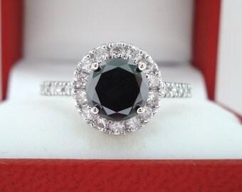 Black Diamond Wedding Ring, Engagement Ring 14K White Gold 1.57 Carat Handmade Halo Pave Unique