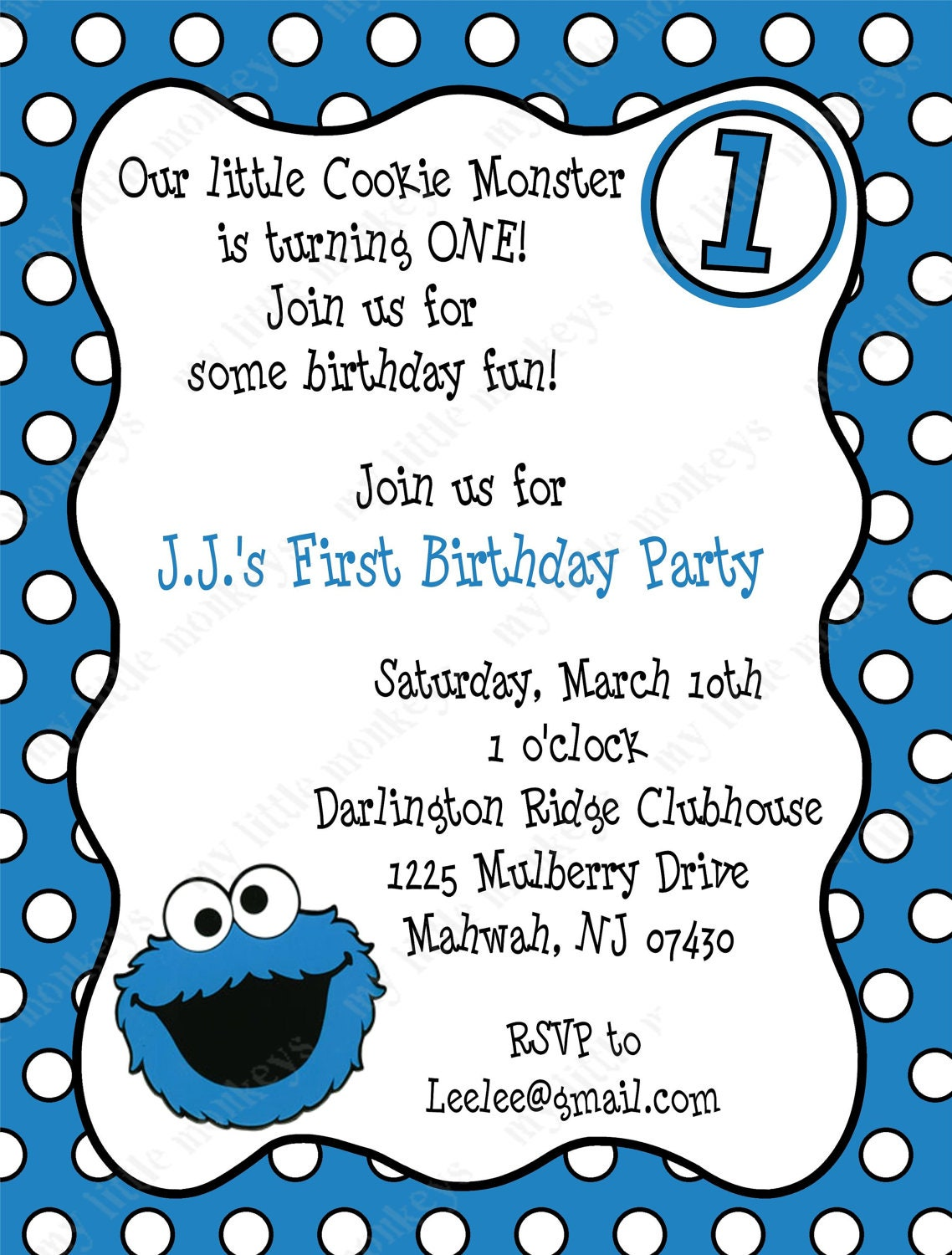 10 Cookie Monster Birthday Invitations with Envelopes. Free