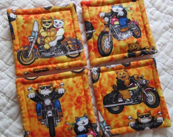 Motorcycle Cats Quilted Coasters (Set of 4)