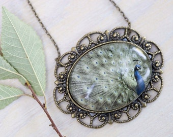 Peacock Necklace, Peacock Jewelry, Nature inspired Necklace, Antique Bronze Setting, Photo Pendant, Bird Jewelry