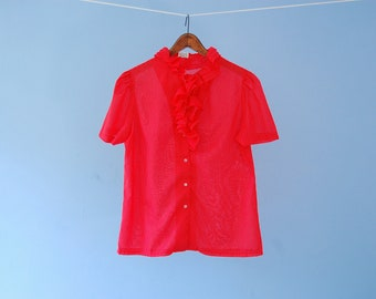 Red Swiss Dot Blouse Vintage Polka Dot Shirt Romantic Blouse Semi Sheer Short Sleeve Ruffle Na Ma of California Medium