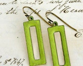 Vintage Earrings -  Chartreuse Green enamal and Gold Brass - Handmade