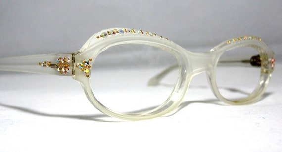 Eyeglass Frames With Pearls : Vintage 50s Cat Eye Glasses. Pearl White by ...