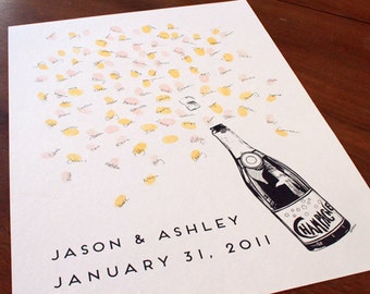 Thumbprint Bubbly Champagne Bottle, Guest book fingerprint alternative art (with 1 ink pads)