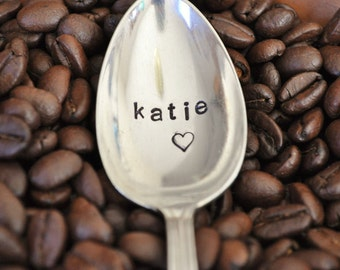 Personalized First Name Spoon  - Hand Stamped, Vintage Coffee Spoon for COFFEE LOVERS (TM)