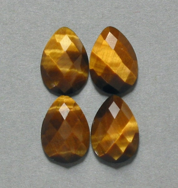 cabochons TIGER EYE faceted drop pear four 10X14mm designer cabs