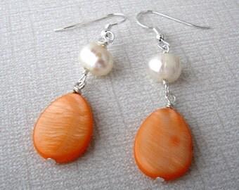 Orange Bridal Jewelry, Orange Handmade Earrings, Beach Wedding Jewelry, Mother of Pearl Earrings, Bridesmaid Gift