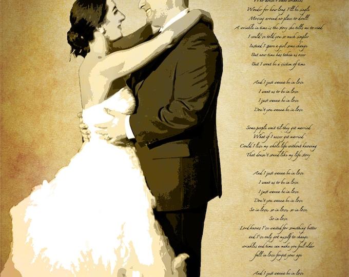 Song Lyric Wedding Vows Custom Canvas Wall Art 16x20