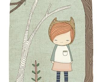 Whimsical Illustration Bear - Lively in the Woods Art Print