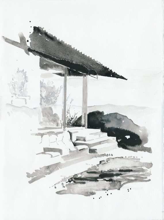 Original Watercolor Painting, Mid-Century Architecture. The Frey House II.