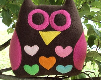Chocolate Brown and Hot Pink Owl Plushie - Stuffed Owl for her - Plush Hearts Owl - Valentine Owl