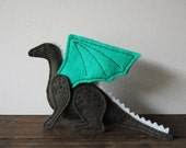 Stuffed Dragon - Soft Scupture - Adorable Handmade Wool Felt Dragon