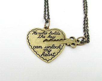 he who holds the key can unlock my heart - 2 necklace set in antiqued gold bronze Valentine's Day