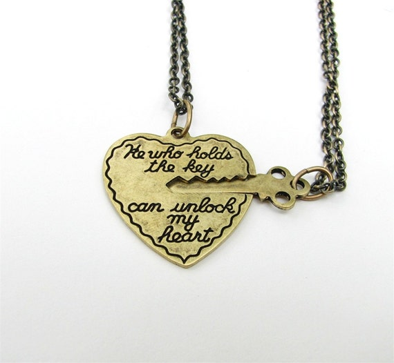SALE he who holds the key can unlock my heart - 2 necklace set in antiqued gold bronze Valentine's Day