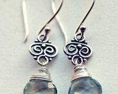 Beautiful  Aquamarine Silver Earrings - Sterling Silver - Genuine Gemstone Jewelry