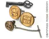 RESERVED Steampunk Cufflinks,Santa Fe Railroad Cufflinks ONLY - Soldered Vintage Brass Railroad Uniform Buttons, Cuff Links