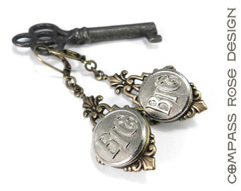 Industrial Steampunk Earrings - Baltimore Transit Company Trolley Button - Brass - Industrial - Historical - Wear History