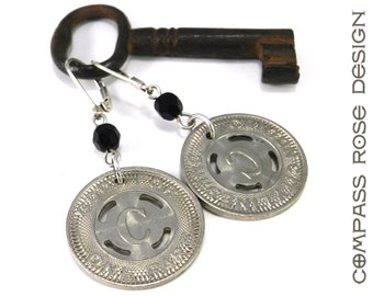 Steampunk Jewelry, Industrial Travel Token Earrings - Canton Silver - Historical Railroad Jewelry