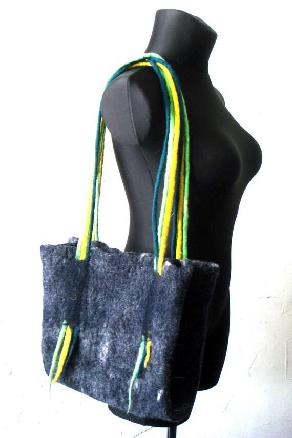 Felt Handbag merino wool Large and spacious handbag, long handles. Ready for shipping