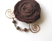 Wearable Whimsy in Dark Brown - Rolled ribbon rosette pin with copper scrolled wire and beads...whimsical and fun